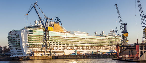 Hamburg Cruise Ship in the Dry Dock